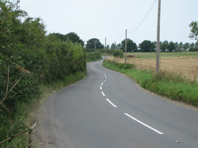 """The long and winding road"" (B1146) near Heath Farm"