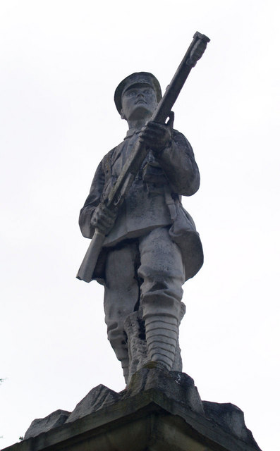 Soldier on top of war memorial, Conisbrough