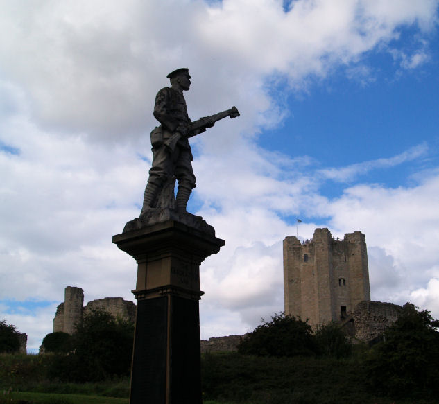 Conisbrough castle keep and war memorial