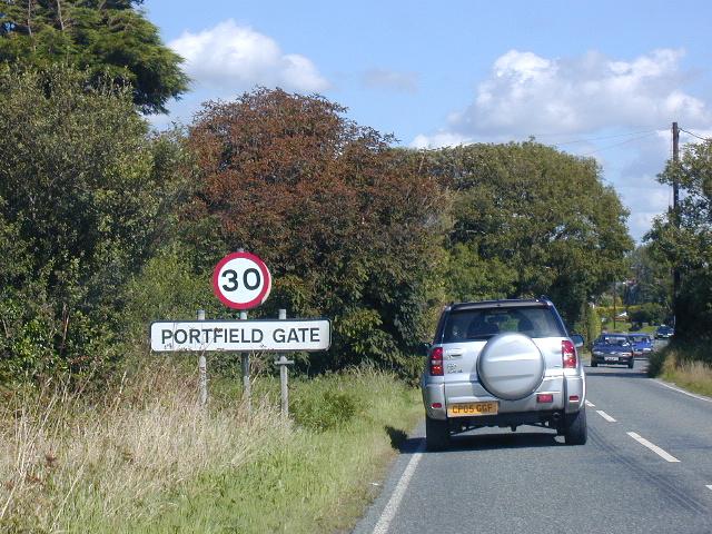 B4341 approaching Portfield Gate