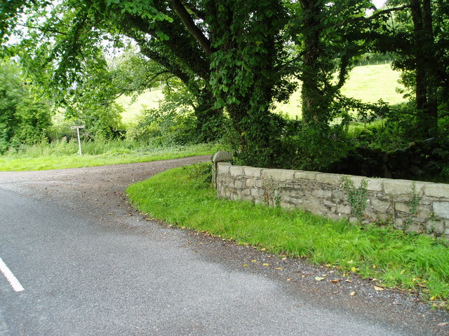 Junction of the service road leading to Kirkbride, Carsluith.