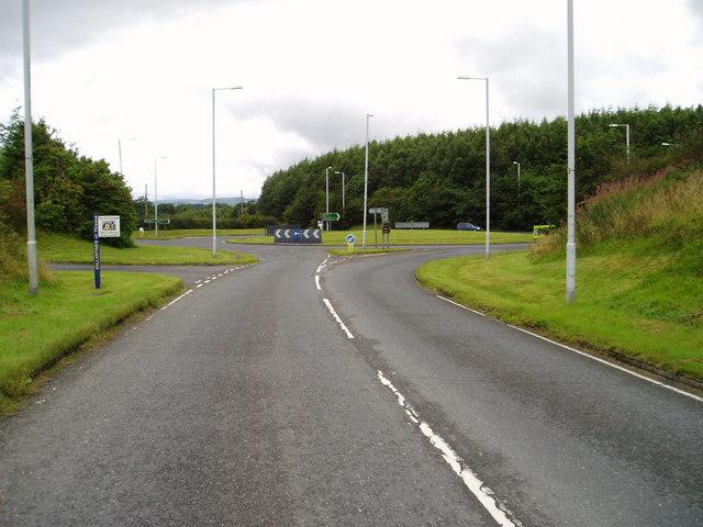 Roundabout on A75 west of Castle Douglas.