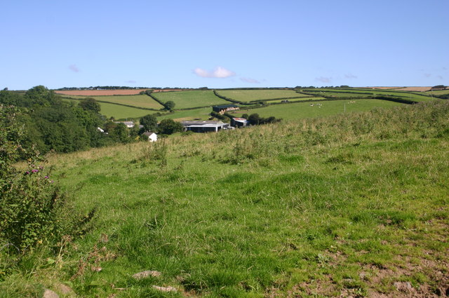 Looking down to Patsford farm