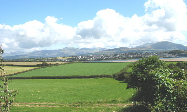 View over farmland towards the Menai Straits from Cae Mawr Farmhouse