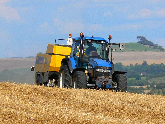 Straw baling activity near Stert