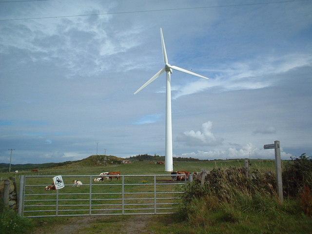 One of Gigha's 3 wind turbines