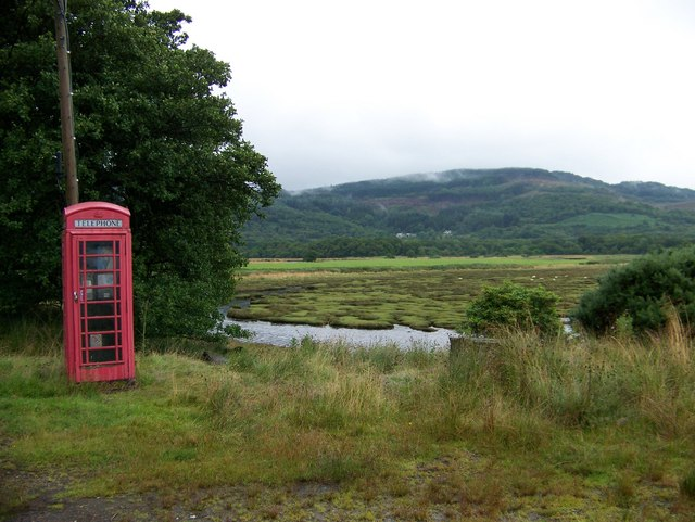 Phone box at Lochead on the River Ruel