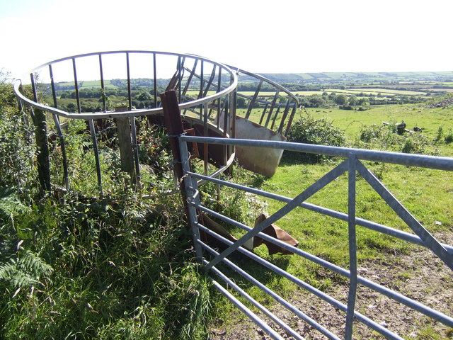 Agricultural equipment by a footpath