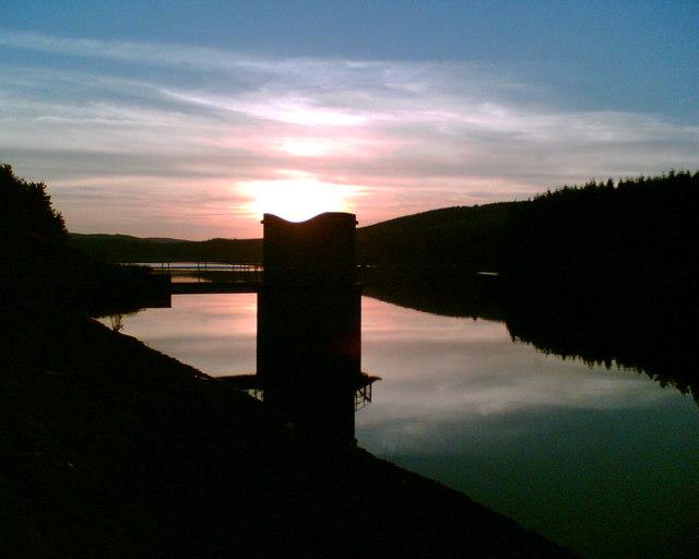 Alemoor Reservoir 'The tower at sundown'