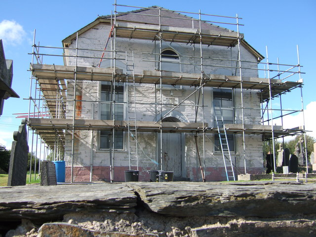 Capel Hermon under scaffolding