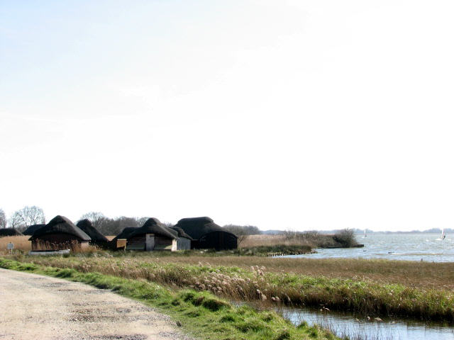 Boathouses on Hickling Broad