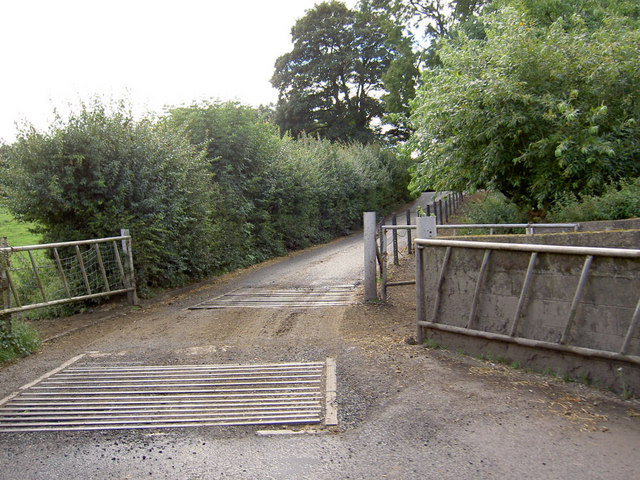 Gates to Tyers Hall farm and cattle grid.