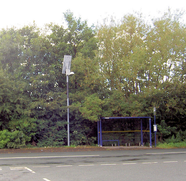 Solar powered light to bus shelter.