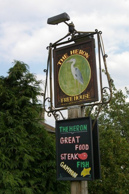 Pub sign at the Heron public house