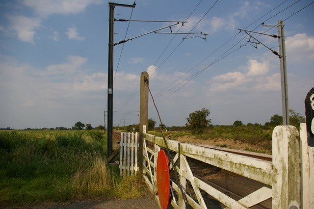 View down railway tracks at level crossing