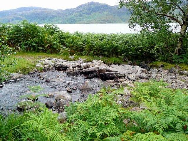 Small stone bridge on the Loch Morar path