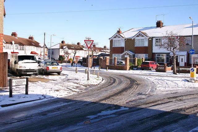 Waltham Cross Snow Scene