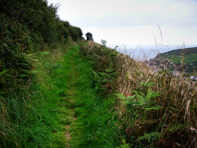 Footpath south of Pwllgwaelod, looking west
