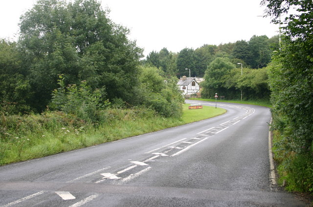The A361 approaches the Foxhunters Inn