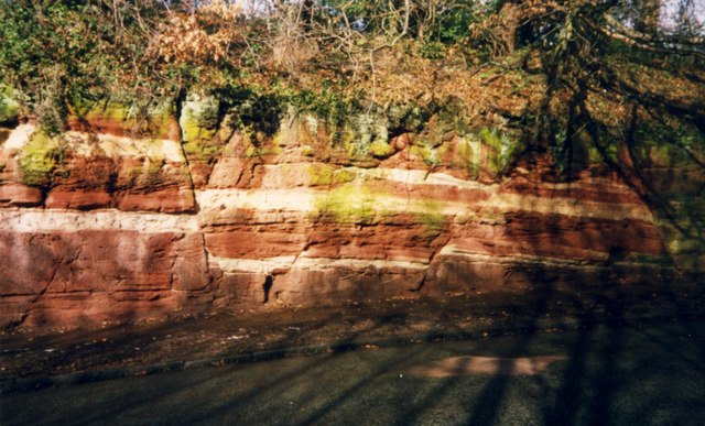 Fault line in the sandstone in Mill Road, Bromborough.