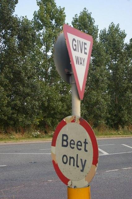 Signage at sugar beet factory