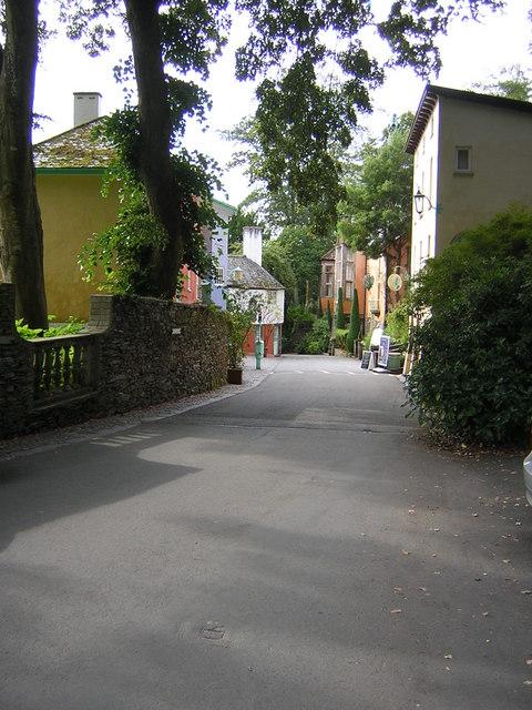 Street running down towards Portmeirion harbour