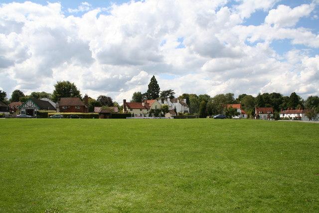 Brockham Green, Surrey: view with village hall