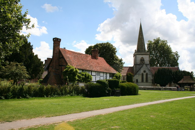 Brockham Green, Surrey: old cottages by All Saints Church