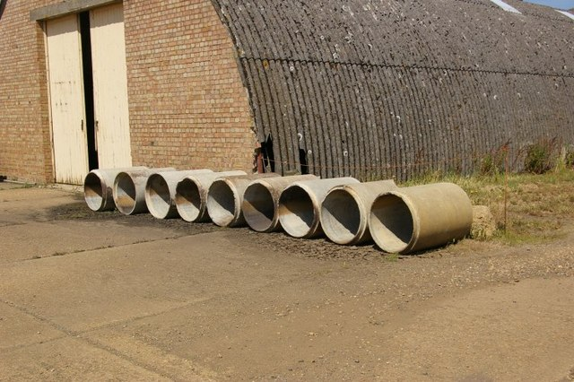 Pipes alongside Nissen hut