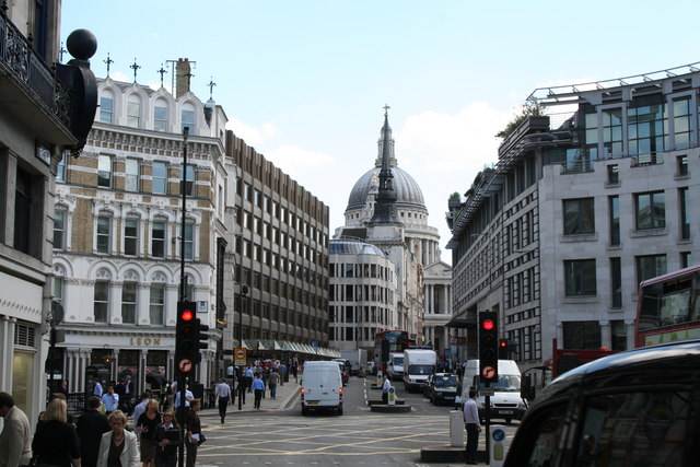 View up Ludgate Hill from Fleet Street