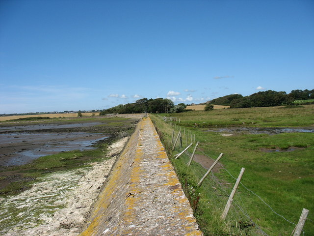 View North along the top of the Rhuddgaer Embankment