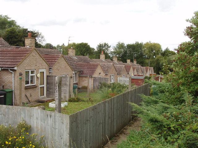 Back gardens of houses in Yardley Hastings
