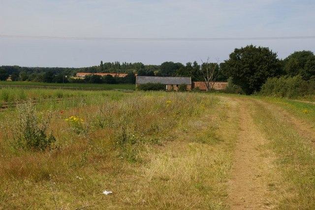 View across field towards Lower Farm