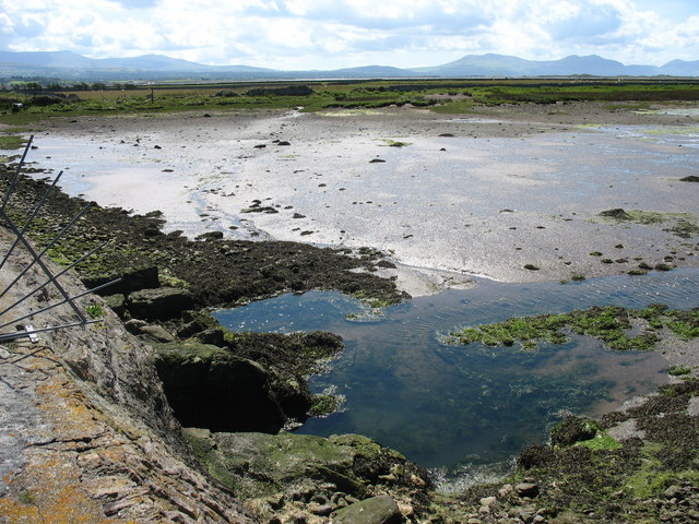 The muddy Rhuddgaer inlet viewed from the embankment