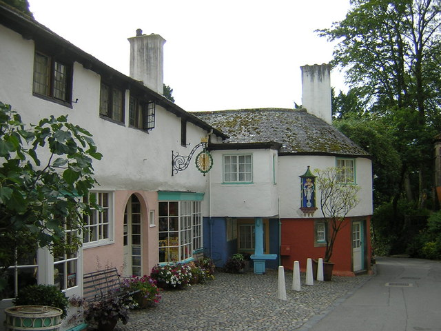 Houses on street opposite town hall at Portmeirion