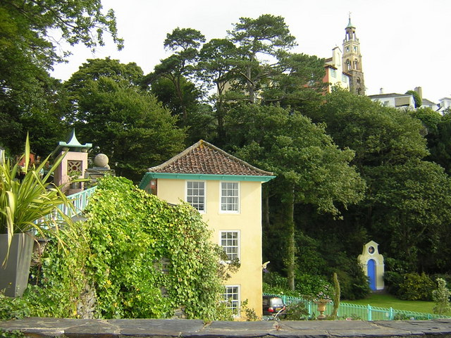 View looking upwards towards tower in Portmeirion