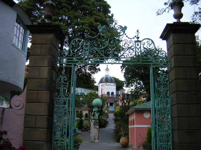 Portmeirion village view through the gates