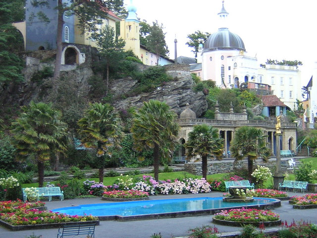 Portmeirion view of village and rock formations