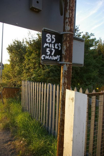Close up of signage at level crossing