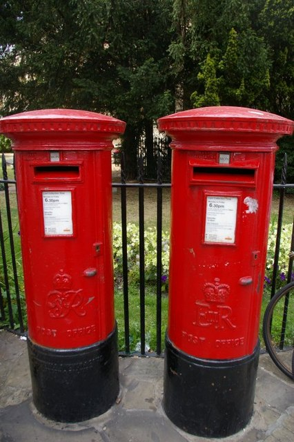 Daddy and daughter postboxes outside Great St Mary's church