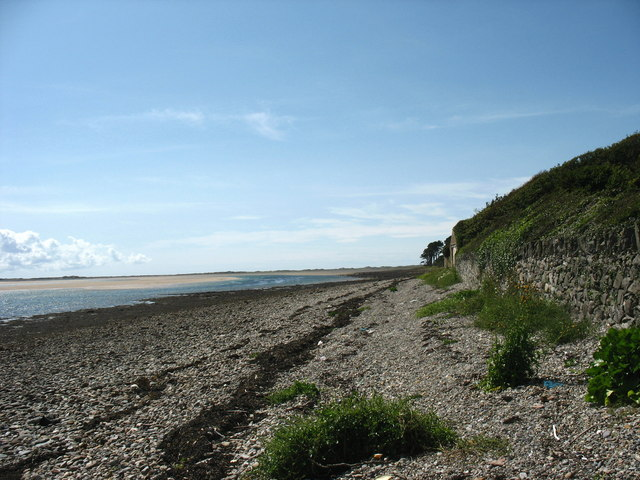 View west along the beach front in the direction of Abermenai