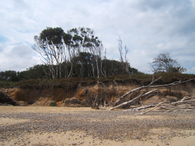 Eroding cliff on the Benacre Estate at Covehithe