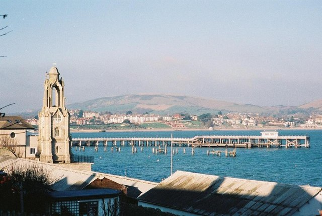 Swanage: Wellington clock tower and pier