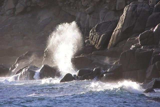 Waves breaking on granite rocks, Nanjizal