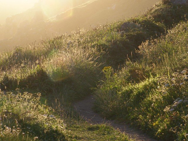 Late evening on the coastal path, approaching Zawn Reeth