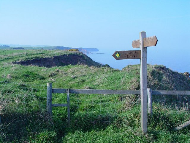 Signpost on the Cleveland Way.