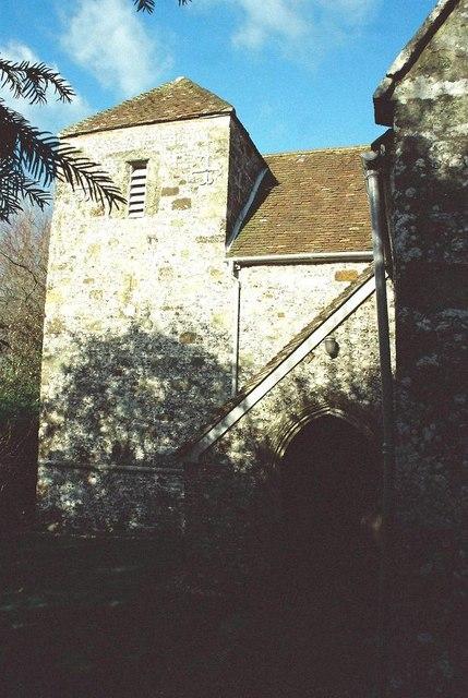 Tarrant Rushton parish church: tower detail