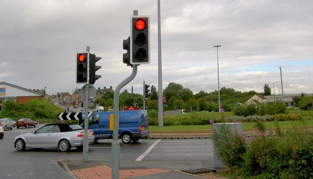 Stairfoot roundabout with Aldi supermarket.