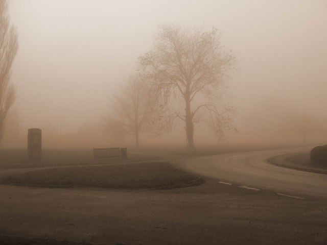 Gateforth village green, foggy, winter morning.
