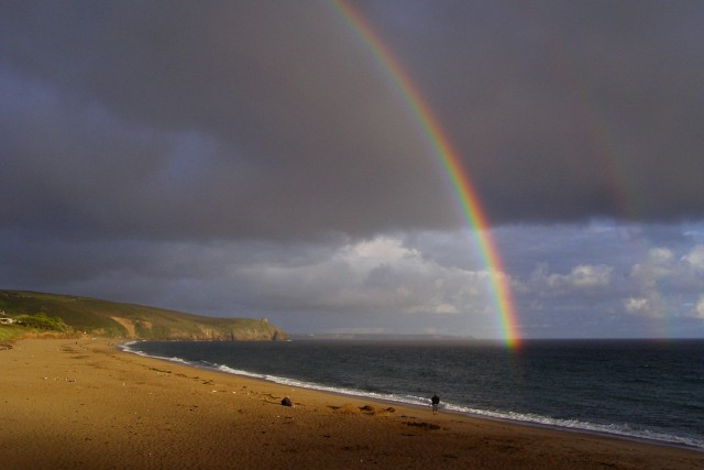Rainbow viewed from the Beachcomber Cafe, Praa Sands